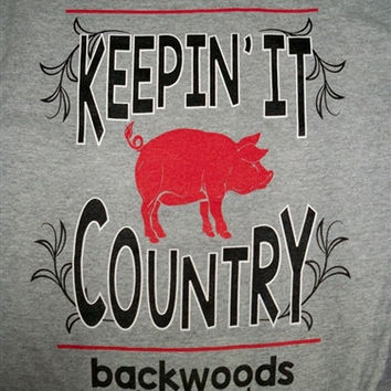 Backwoods Born & Raised Keeping it Country Pig Unisex Bright T Shirt