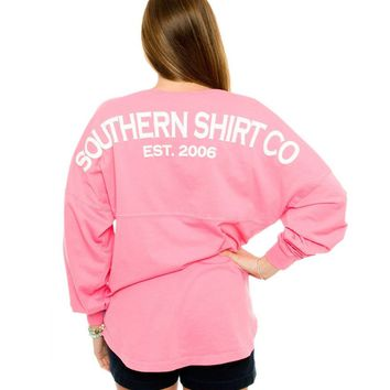 Boardwalk V-Neck Jersey in Lilly Pink by The Southern Shirt Co.
