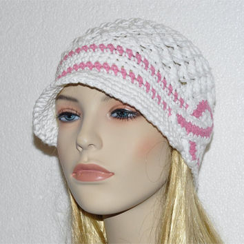 Cancer Awareness Crochet Hat - White Chemo Cap, Breast Cancer Awareness Hat - Ready to SHIP