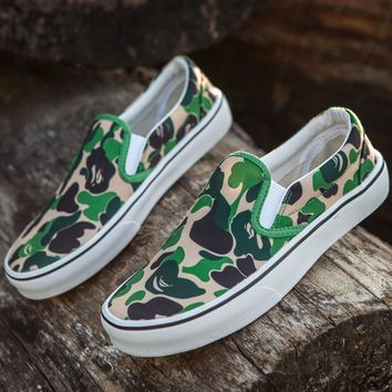 Sale BAPE x Vans Old Skool Custom Dark Camo Green Camouflage Mid Sneakers Convas Casual Shoes