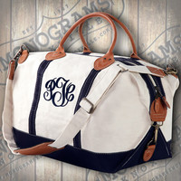 Large Canvas Weekender with Leather Handles font shown MASTER CIRCLE in Navy