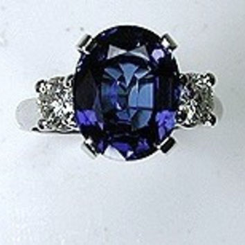 5.02ct Oval Sapphire Diamond Engagement Ring JEWELFORME BLUE 18kt White Gold