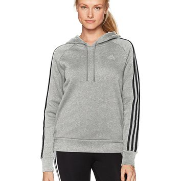 adidas Womens Athletics Essential Cotton Fleece 3 Stripe Pullover Hoody