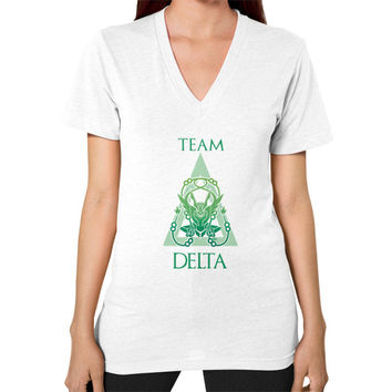 Team Delta V-Neck (on woman)