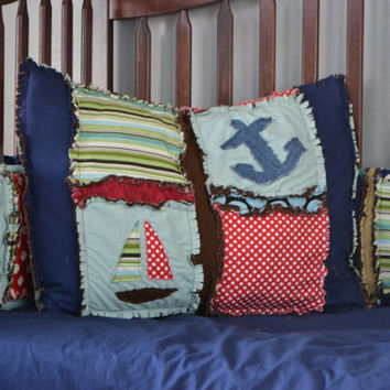 Boat and Anchor Standard Pillow Sham in Blue, Brown, Red, and Green, Custom, Made to Order