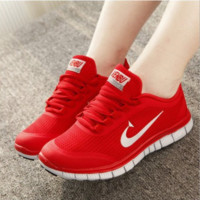 Men and women lovers running shoes with damping breathable non-slip surface leisure sports shoes Red white hook