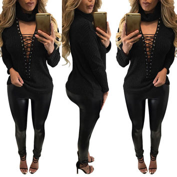 Sexy Ladies' Turtle Neck Front Lace Up Long Sleeved Shirts Plus Size Solid Casual Bandage Shirts Female Blusas LX115