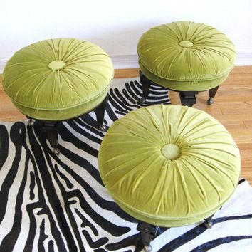 60s Modern Trio of HOLLYWOOD REGENCY Button Tufted by fabulousmess