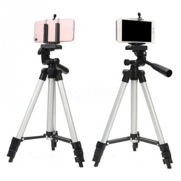360 Horizontal Aluminum Telescopic Camera Tripod Stand Holder Mount+U-Clip for Mobile Phone / Desk Camera