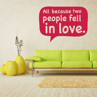 Wall Vinyl Sticker Decals Decor Art Words Sign Quote people fell love (z1211)