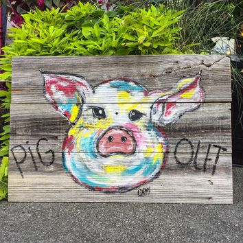 16x24 Pig Out on Reclaimed Barn Wood