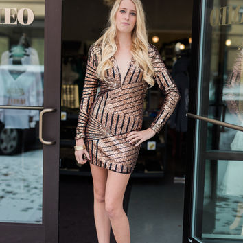 Dress - Sequined Long Sleeved Bodycon - Bronze