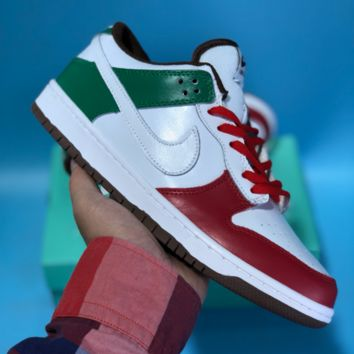 HCXX N510 Nike Dunk Low Pro SB Fashion Casual Low Skate Shoes White Green Red