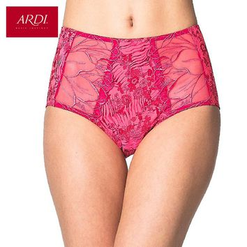 Women's Briefs With High Waist Embroidery Microfiber