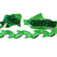 St. Patrick's Day Reversible Green and White Glitter Headband