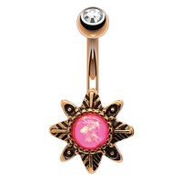 Belly Button Ring Star Flower Vintage Victorian Pink Opal Rose Gold 14G Body Piercing Jewelry