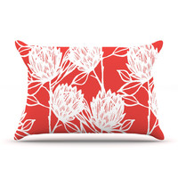 "Gill Eggleston ""Protea Strawberry White"" Red Flowers Pillow Sham"