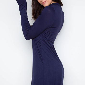 Rainy Day Mock Turtleneck Dress - Navy