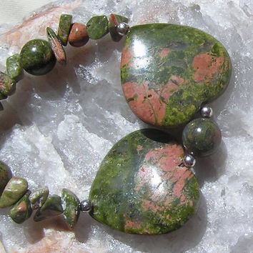 "Unakite Double Heart Gemstone Crystal Necklace - ""Two Hearts"" - Special Offer Price"