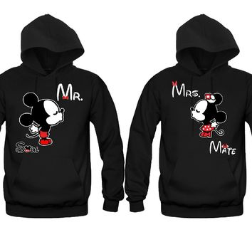 Cartoon Kissing Mr. Mrs. Soul Mate Unisex Couple Matching Hoodies