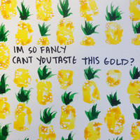 Original Fancy Pineapple Watercolor Painting with Iggy Azalea Lyrics