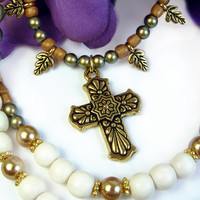 Religious Cross Pendant Necklace, Green Gold Pearls, Leaf Beads, Handmade Jewelry