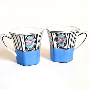 Noritake Handpainted Demitasse Cups Art Nouveau Deco Vintage Collectibles Housewares Coffee Tea Accessories Wedding Gift  c1930s