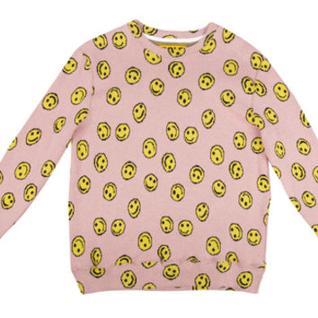 ALLOVER HAPPY FACE SWEATER