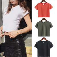 Fashion Simple Casual Solid Color Round Neck Short Sleeve T-shirt Crop Tops