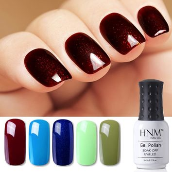 HNM 8ml Blue Red Pink Green Yellow Color Gel Nail Polish UV LED Lamp Semi Permanent Varnish Hybird Base Top Primer Manicure