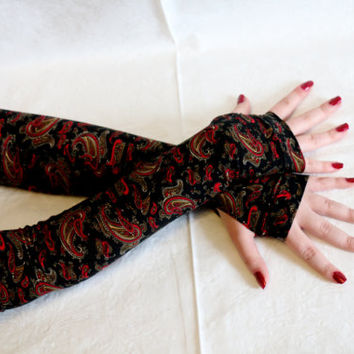 Black red extra long bohemian gypsy floral tribal armwarmers fingerless gloves