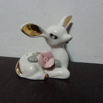 Vintage White and Gold Ceramic Fawn/Deer Figurine