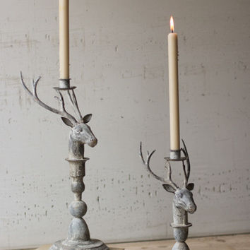Set of 2 Metal Deer Taper Candle Holders