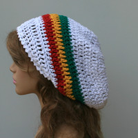 White Cotton and hemp blend Jamaica colors slouchy beanie smaller dreadlock hippie tam hat
