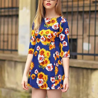 Sunflower Print Sleeve Zipper Back Mini Dress