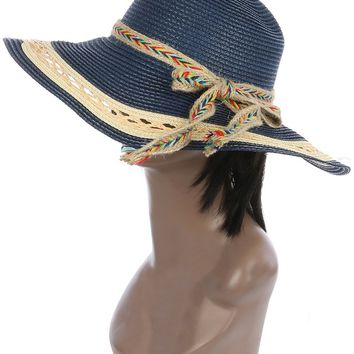 Navy Blue Braided Color Yarn Trim Floppy Straw Hat And Cap