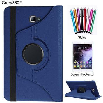 Carry360 For Samsung Galaxy Tab A 10.1 2016 Case 360 Degrees Rotating Stand Tablet Cover + Screen Protector + stylus