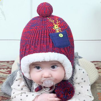 Christmas deer letter A baby plus velvet  warm plush thick cap with wool ball string cover ear kids beanies boys girls hats