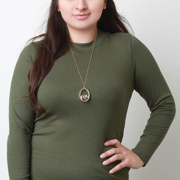 Mock Neck Ribbed Jersey Long Sleeve Top