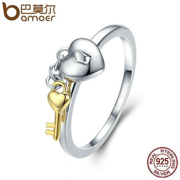 BAMOER 925 Sterling Silver Heart Lock with Gold Color Key Finger Rings for Women Anniversary Engagement Jewelry S925 SCR205