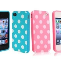 Importer520 2in1 Combo Polka Dot Flex Gel Case for Iphone 4 & 4S, Baby Blue/Pink:Amazon:Cell Phones & Accessories