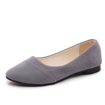 2016 New Suede fashion women's flat shoes big yards Spring and Autumn solid color ballet flats Zapatos42 Zapato index Mujer35-39