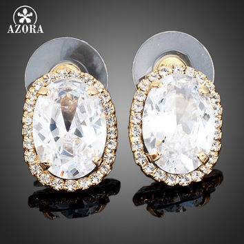 AZORA Gold Plated Big Clear Austrian Crystal Stud Earrings TE0003