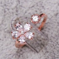 Flower Blossom Rhinestone Cuff Ring (Slightly Adjustable)