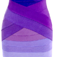 Becky Ombre Strapless Bandage Dress - Purple