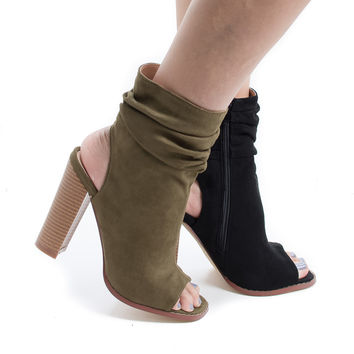 Anson1 Gray By Liliana, Peep Toe Slouchy Ankle Cut Out Stacked Heel Booties