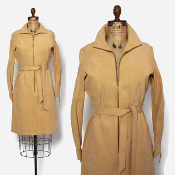 Vintage 70s HALSTON Ultra Suede DRESS / 1970s Belted Zip-Up Camel Tan Shirt Dress