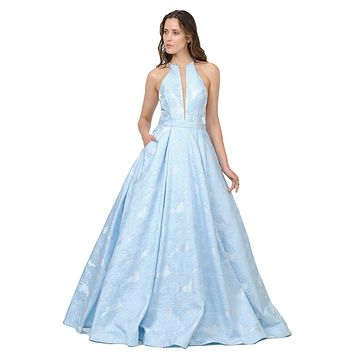 Sheer Cut-Out Bodice Long Prom Dress with Pockets Blue