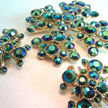 Maltese Cross BSK Brooch Earrings Set, Peacock AB Rhinestones, Vintage