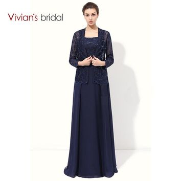 Lace A Line Mother Of The Bride Dresses With Jacket Chiffon Formal Mother Bride Dresses For Wedding